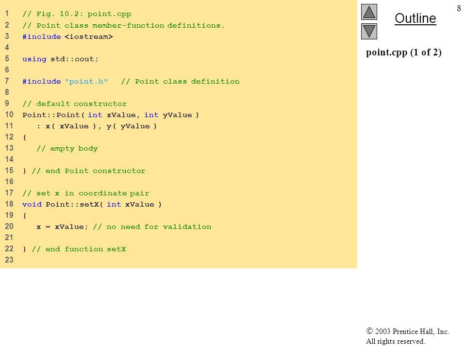 39 Μελέτη Περίπτωσης : Κληρονόμηση Διεπαφής και Υλοποίησης Κάνουμε την Shape abstract base class –Pure virtual functions (πρέπει να συμπληρωθούν) getName, print Δεν έχει νόημα προκαθορισμένη υλοποίηση –Virtual functions (μπορούν να επανοριστούν) getArea, getVolume –Αρχικά επιστρέφουν 0.0 Εάν δεν επανοριστούν, χρησιμοποιούνται οι ορισμοί της base class –Παραγόμενες κλάσεις: Point, Circle, Cylinder