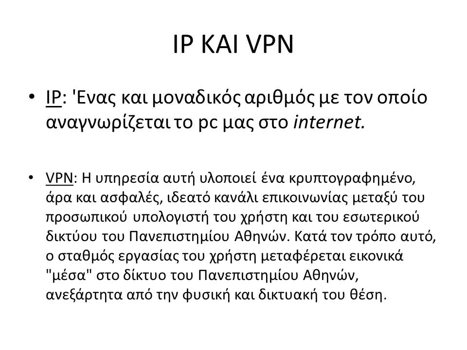 IP ΚΑΙ VPN IP: Ενας και μοναδικός αριθμός με τον οποίο αναγνωρίζεται το pc μας στο internet.