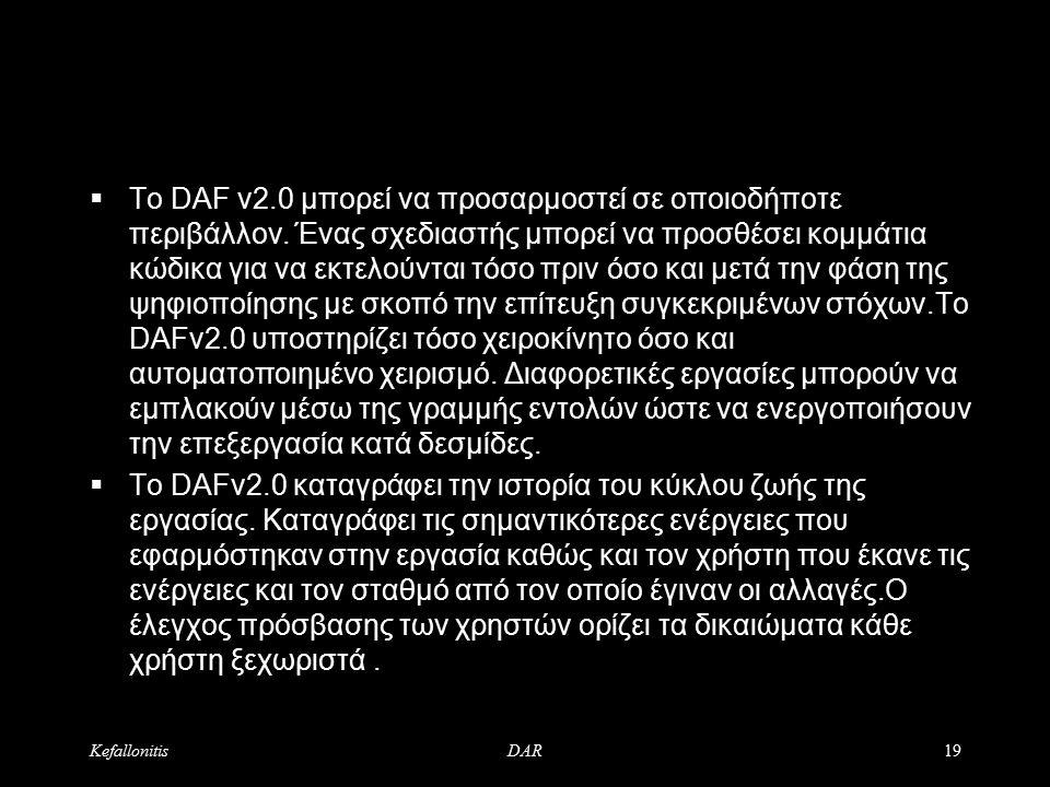 KefallonitisDAR20 DAR Digital Assests Repository  Components: - DAK - Digital Assets Keeper - DAF - Digital Assets Factory - Publishing Tools
