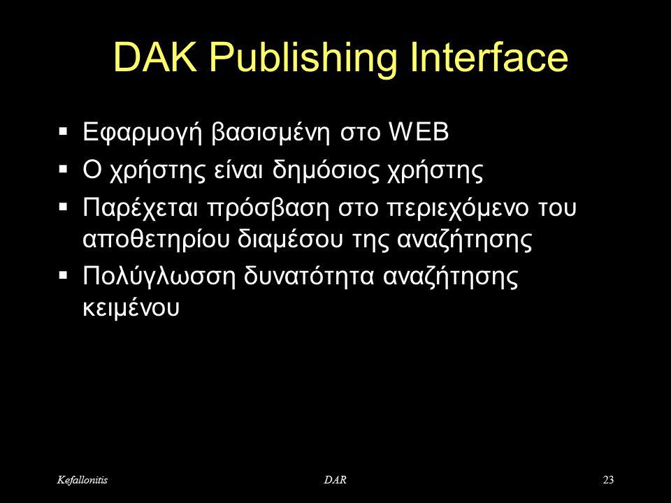 KefallonitisDAR23 DAK Publishing Interface  Εφαρμογή βασισμένη στο WEB  Ο χρήστης είναι δημόσιος χρήστης  Παρέχεται πρόσβαση στο περιεχόμενο του αποθετηρίου διαμέσου της αναζήτησης  Πολύγλωσση δυνατότητα αναζήτησης κειμένου