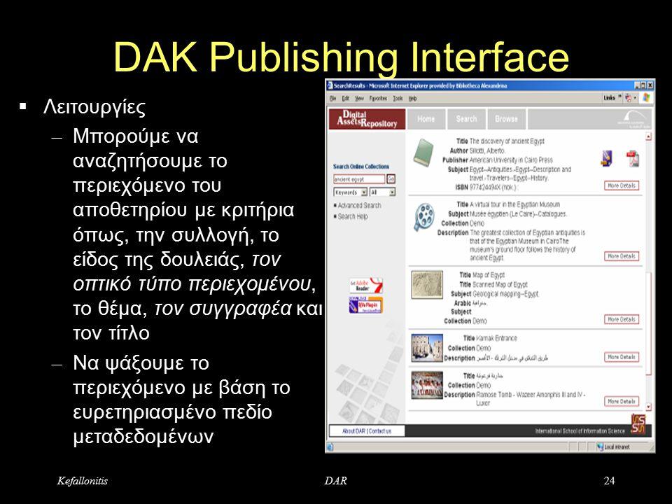 KefallonitisDAR24 DAK Publishing Interface  Λειτουργίες – Μπορούμε να αναζητήσουμε το περιεχόμενο του αποθετηρίου με κριτήρια όπως, την συλλογή, το είδος της δουλειάς, τον οπτικό τύπο περιεχομένου, το θέμα, τον συγγραφέα και τον τίτλο – Να ψάξουμε το περιεχόμενο με βάση το ευρετηριασμένο πεδίο μεταδεδομένων