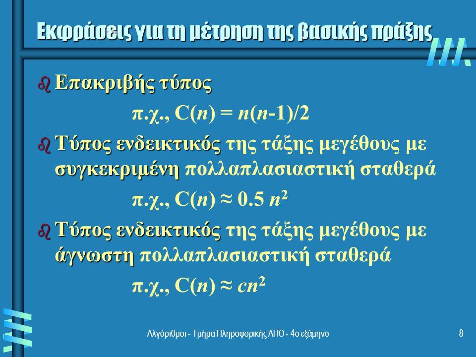 Αλγόριθμοι - Τμήμα Πληροφορικής ΑΠΘ - 4ο εξάμηνο19 Χρονική αποδοτικότητα επαναληπτικών αλγορίθμων Βήματα της μαθηματικής ανάλυσης επαναληπτικών αλγορίθμων: b μέγεθος της εισόδου b Αποφασίζουμε την παράμετρο n που δείχνει το μέγεθος της εισόδου b βασική πράξη b Προσδιορίζουμε τη βασική πράξη του αλγορίθμου b χειρότερημέση καλύτερη b Προσδιορίζουμε τη χειρότερη, τη μέση, και την καλύτερη περίπτωση για μία είσοδο μεγέθους n b b Βρίσκουμε την έκφραση C(n) με βάση τη δομή βρόχου του αλγορίθμου b b Απλοποιούμε την έκφραση με τη βοήθεια τυποποιημένων σχέσεων