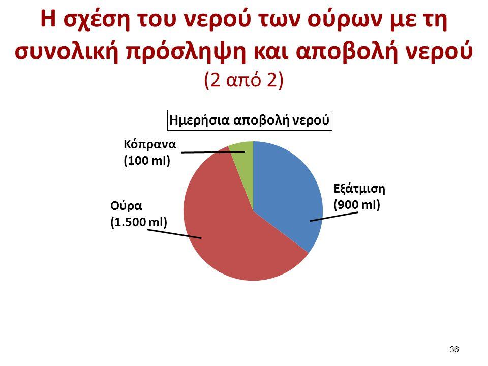 Η σχέση του νερού των ούρων με τη συνολική πρόσληψη και αποβολή νερού (2 από 2) Εξάτμιση (900 ml) Κόπρανα (100 ml) Ούρα (1.500 ml) 36