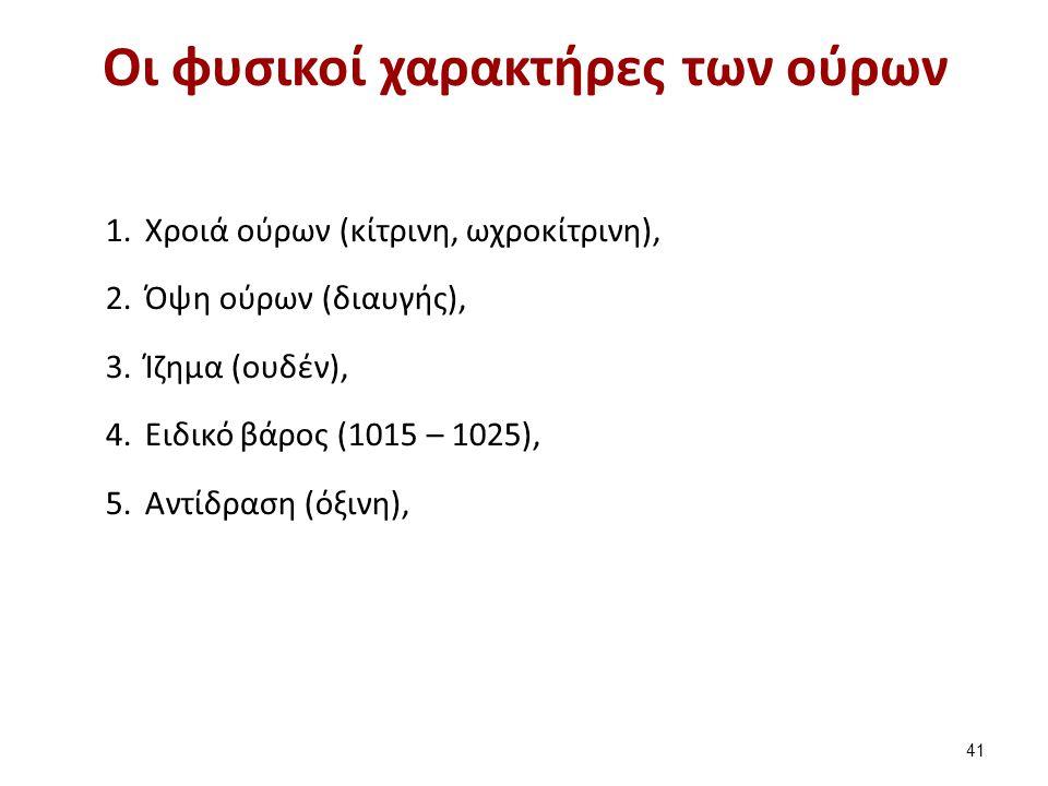Οι φυσικοί χαρακτήρες των ούρων 41 1.Χροιά ούρων (κίτρινη, ωχροκίτρινη), 2.Όψη ούρων (διαυγής), 3.Ίζημα (ουδέν), 4.Ειδικό βάρος (1015 – 1025), 5.Αντίδ