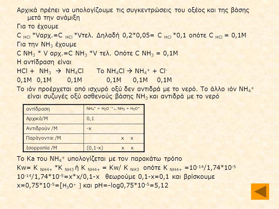 Αρχικά πρέπει να υπολογίζουμε τις συγκεντρώσεις του οξέος και της βάσης μετά την ανάμιξη Για το έχουμε C HCl *Vαρχ.=C HCl *Vτελ.