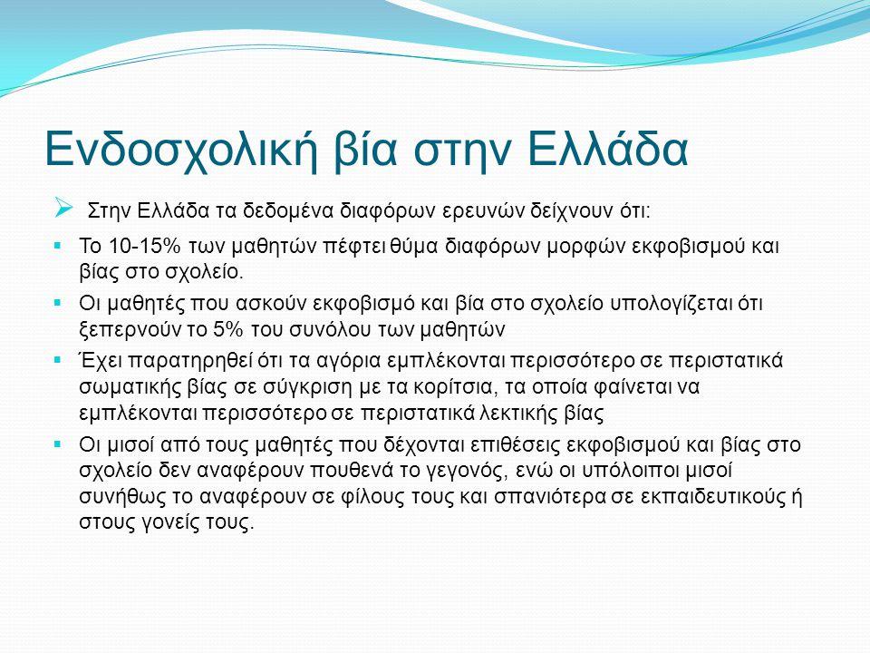 Ενδοσχολική βία στην Ελλάδα  Στην Ελλάδα τα δεδομένα διαφόρων ερευνών δείχνουν ότι:  Το 10-15% των μαθητών πέφτει θύμα διαφόρων μορφών εκφοβισμού κα