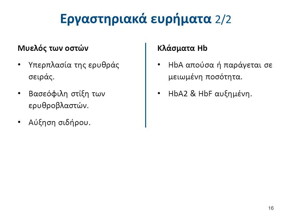 Εργαστηριακά ευρήματα 2/2 Μυελός των οστών Υπερπλασία της ερυθράς σειράς.