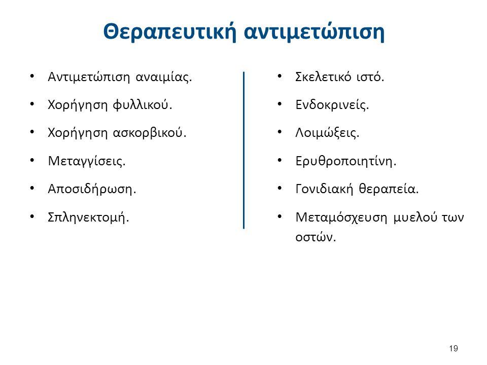 Θεραπευτική αντιμετώπιση Αντιμετώπιση αναιμίας.Χορήγηση φυλλικού.