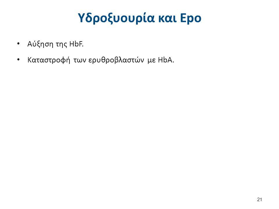 Υδροξυουρία και Epo Αύξηση της HbF. Καταστροφή των ερυθροβλαστών με HbA. 21