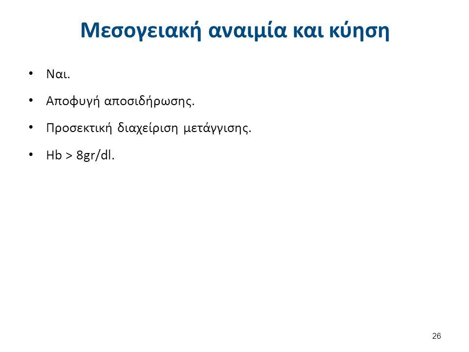 Μεσογειακή αναιμία και κύηση Ναι.Αποφυγή αποσιδήρωσης.