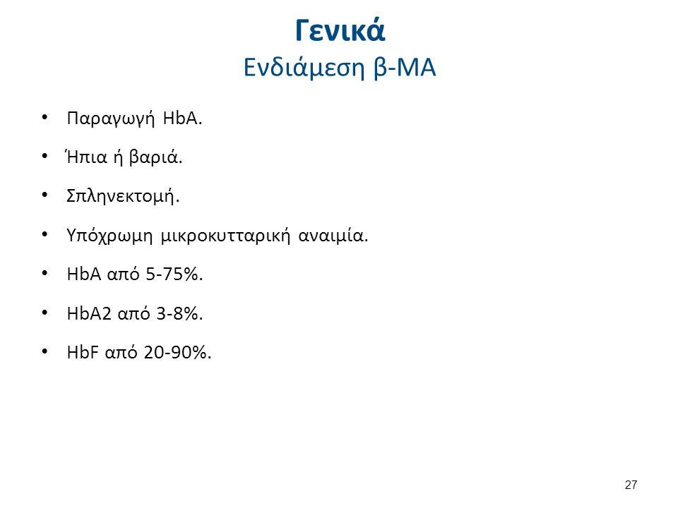 Γενικά Ενδιάμεση β-ΜΑ Παραγωγή HbA.Ήπια ή βαριά. Σπληνεκτομή.