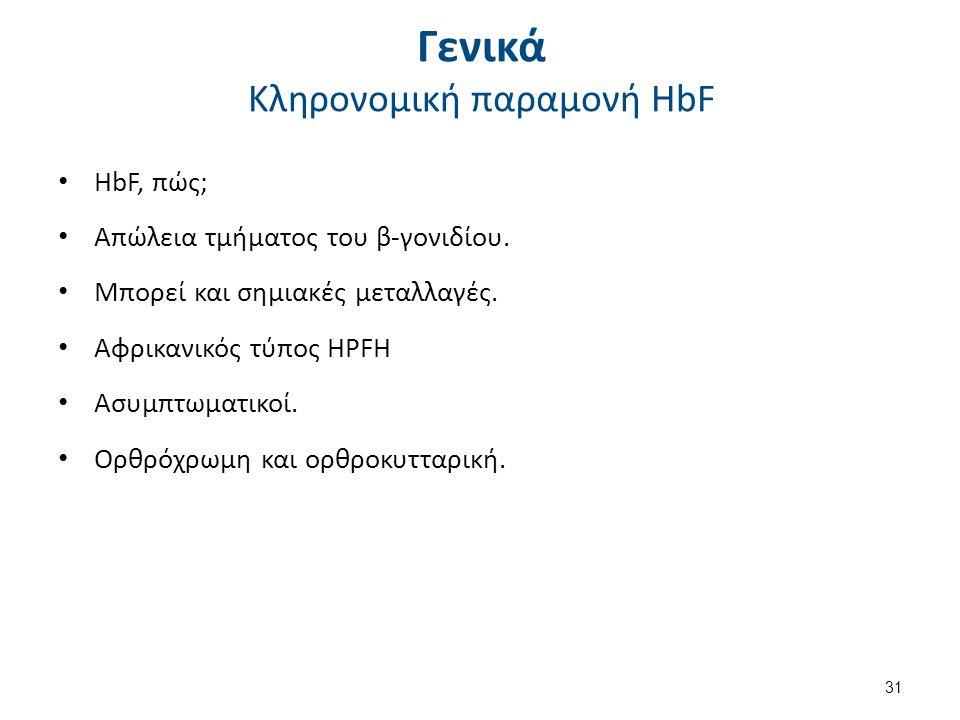 Γενικά Κληρονομική παραμονή HbF HbF, πώς; Απώλεια τμήματος του β-γονιδίου.