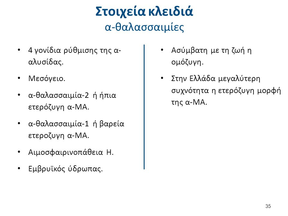 4 γονίδια ρύθμισης της α- αλυσίδας.Μεσόγειο. α-θαλασσαιμία-2 ή ήπια ετερόζυγη α-ΜΑ.