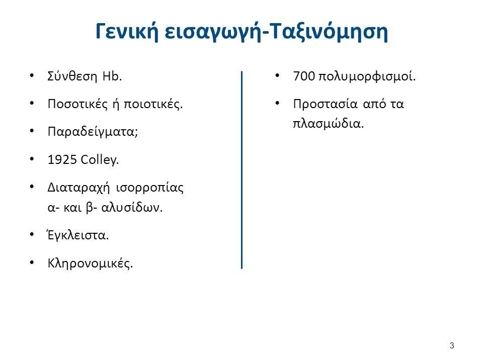 Γενική εισαγωγή-Ταξινόμηση Σύνθεση Hb.Ποσοτικές ή ποιοτικές.