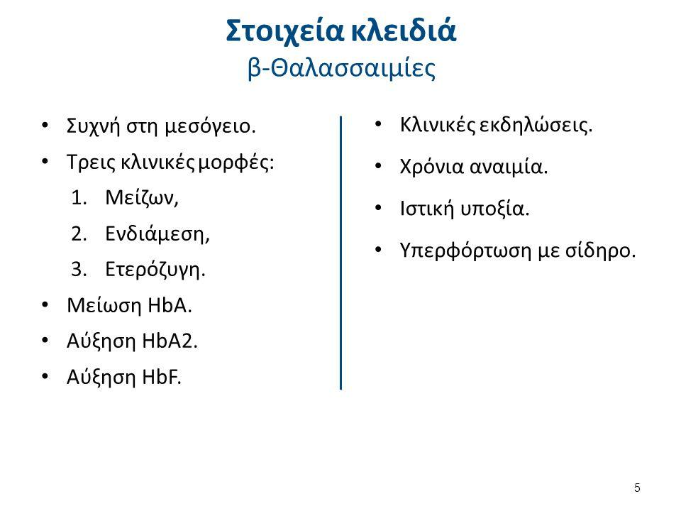 Στοιχεία κλειδιά β-Θαλασσαιμίες Συχνή στη μεσόγειο.