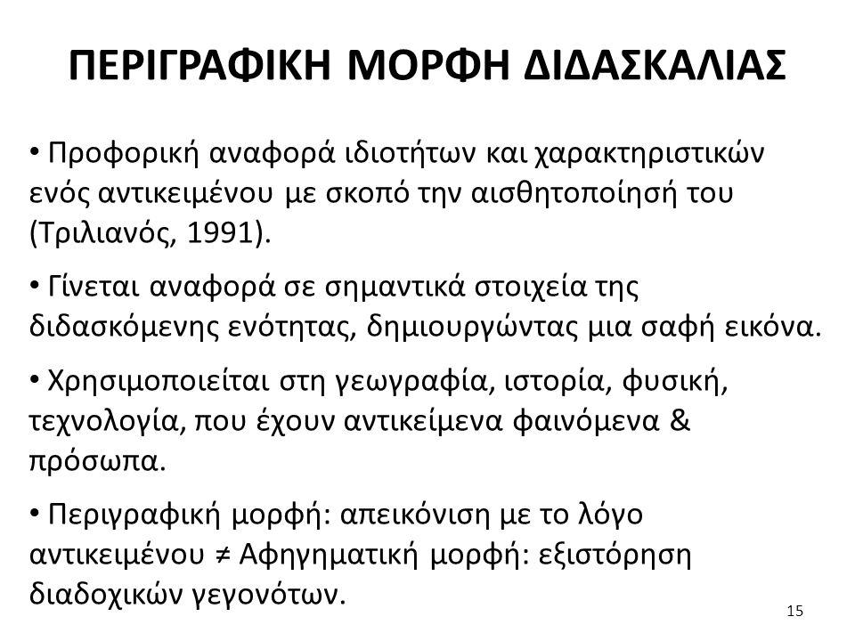ΠΕΡΙΓΡΑΦΙΚΗ ΜΟΡΦΗ ΔΙΔΑΣΚΑΛΙΑΣ Προφορική αναφορά ιδιοτήτων και χαρακτηριστικών ενός αντικειμένου με σκοπό την αισθητοποίησή του (Τριλιανός, 1991). Γίνε