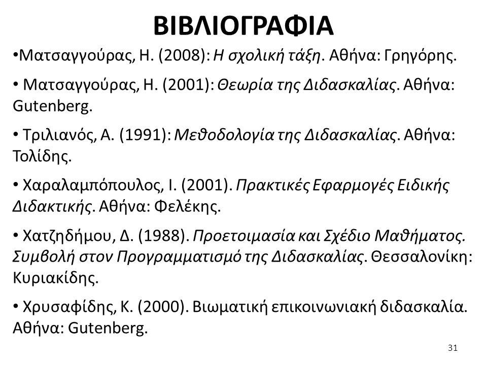 ΒΙΒΛΙΟΓΡΑΦΙΑ Ματσαγγούρας, Η. (2008): Η σχολική τάξη. Αθήνα: Γρηγόρης. Ματσαγγούρας, Η. (2001): Θεωρία της Διδασκαλίας. Αθήνα: Gutenberg. Τριλιανός, Α