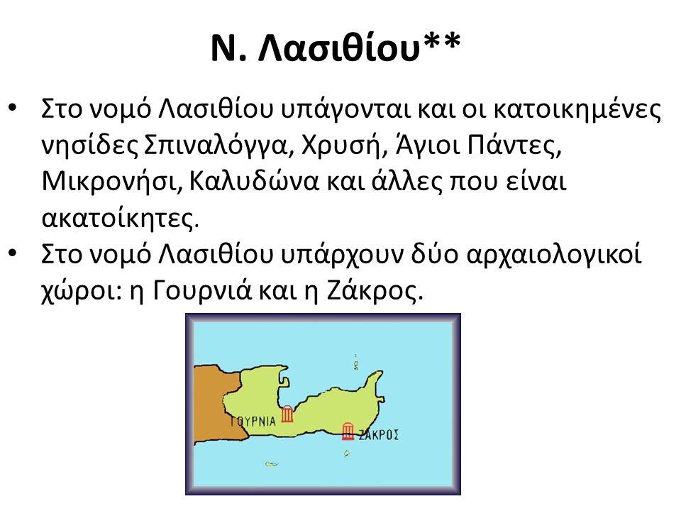 Ν. Λασιθίου** Στο νομό Λασιθίου υπάγονται και οι κατοικημένες νησίδες Σπιναλόγγα, Χρυσή, Άγιοι Πάντες, Μικρονήσι, Καλυδώνα και άλλες που είναι ακατοίκ