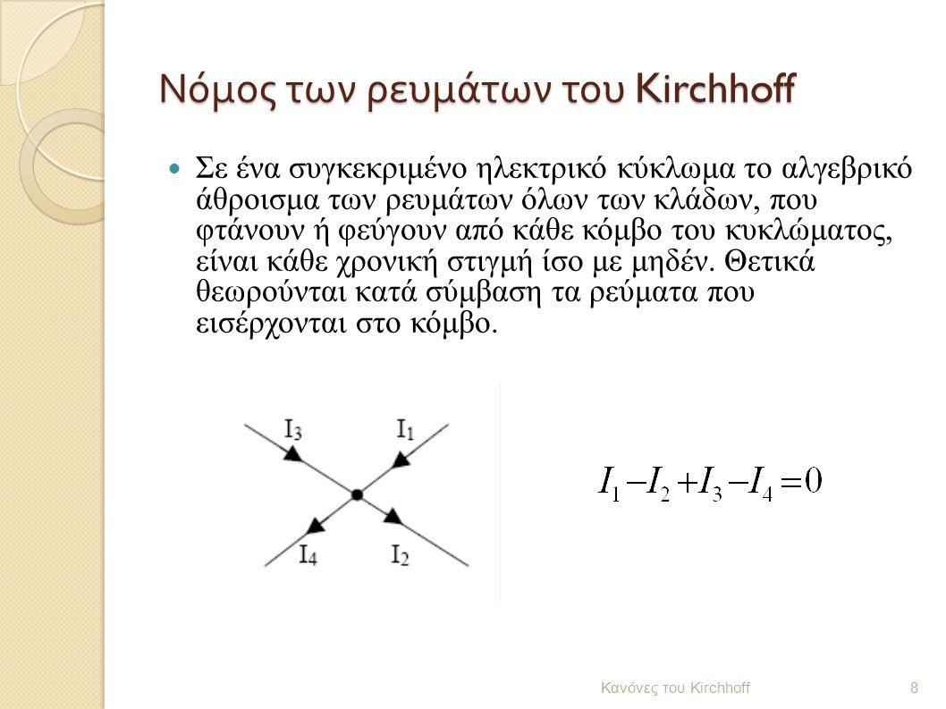 Νόμος των ρευμάτων του Kirchhoff Σε ένα συγκεκριμένο ηλεκτρικό κύκλωμα το αλγεβρικό άθροισμα των ρευμάτων όλων των κλάδων, που φτάνουν ή φεύγουν από κ