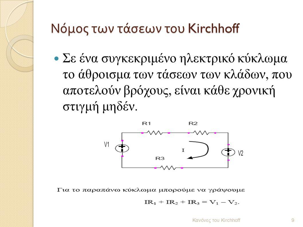 Νόμος των τάσεων του Kirchhoff Σε ένα συγκεκριμένο ηλεκτρικό κύκλωμα το άθροισμα των τάσεων των κλάδων, που αποτελούν βρόχους, είναι κάθε χρονική στιγ