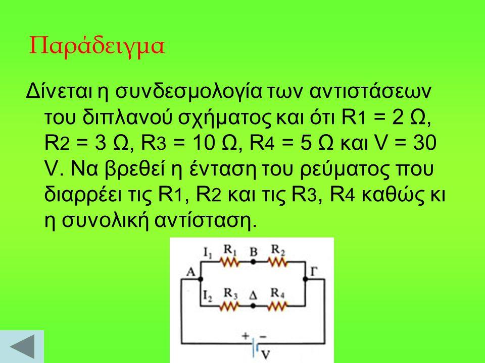 Παράδειγμα Δίνεται η συνδεσμολογία των αντιστάσεων του διπλανού σχήματος και ότι R 1 = 2 Ω, R 2 = 3 Ω, R 3 = 10 Ω, R 4 = 5 Ω και V = 30 V.