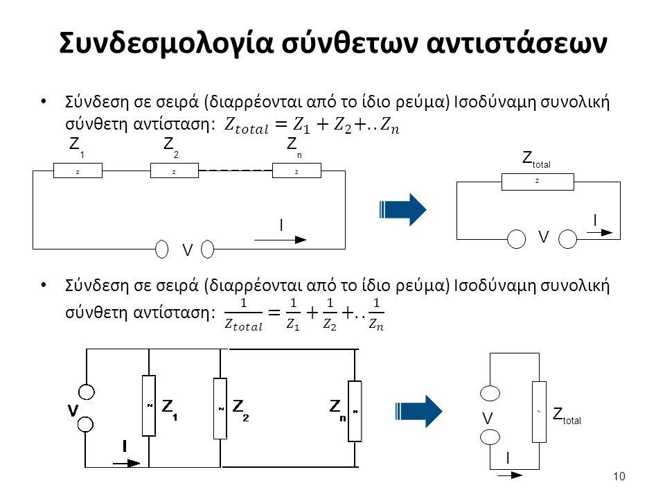 Συνδεσμολογία σύνθετων αντιστάσεων 10 V I ZZZ12nZZZZZZ12nZZZ Z total I V Z V I ZnZn Z2Z2 Z1Z1 Z Z Z Z I V Z