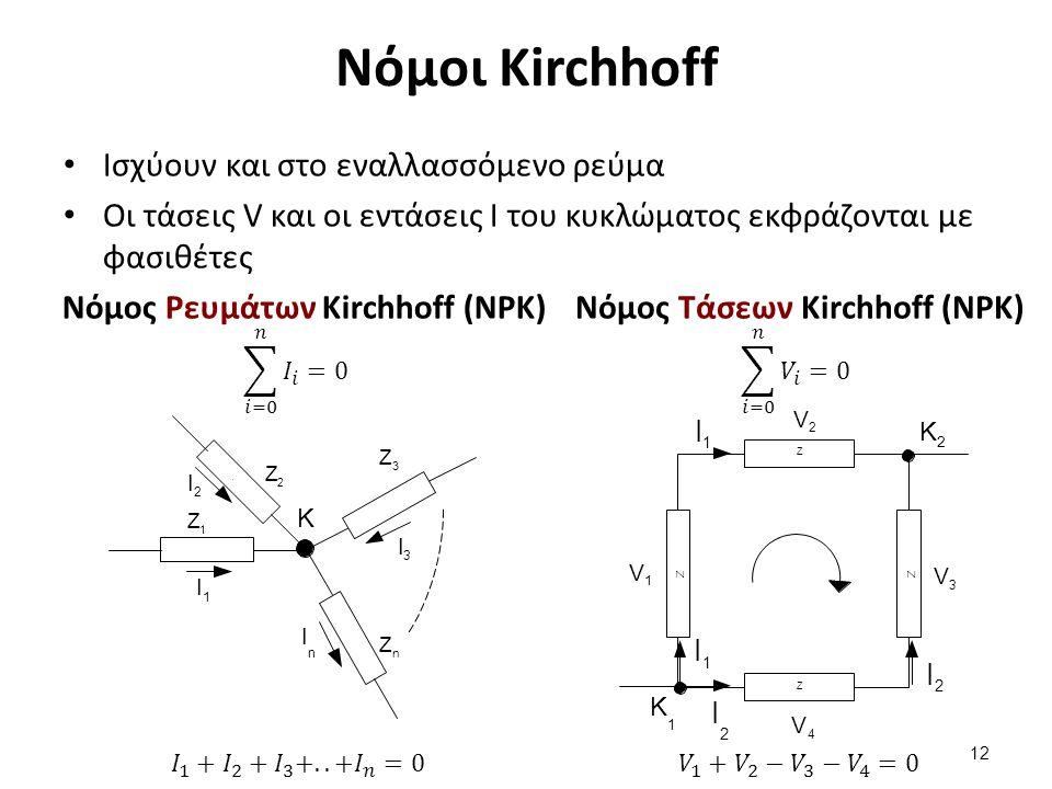 Νόμοι Kirchhoff Ισχύουν και στο εναλλασσόμενο ρεύμα Οι τάσεις V και οι εντάσεις I του κυκλώματος εκφράζονται με φασιθέτες 12 Νόμος Ρευμάτων Kirchhoff