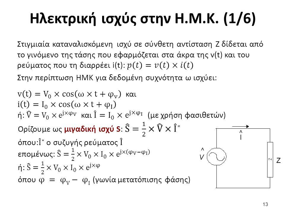 Ηλεκτρική ισχύς στην Η.Μ.Κ. (1/6) 13 Ζ Z ^V^V Ι ^