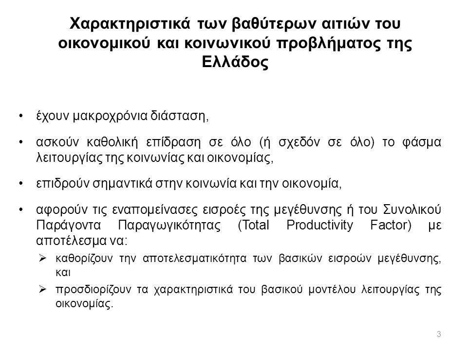 4 Χαρακτηριστικά των βαθύτερων αιτιών του οικονομικού και κοινωνικού προβλήματος της Ελλάδος ορισμένες διαστάσεις των βαθύτερων αιτιών αφορούν και τη διαθέσιμη ποσότητα των βασικών συντελεστών μεγέθυνσης:  τα χαρακτηριστικά του πολιτισμικού υπόβαθρου έχουν (αρνητική) επίπτωση στη γεννητικότητα και ενδεχομένως στην ανάγκη διατύπωσης μίας παραγωγικής μεταναστευτικής πολιτικής,  ορισμένα χαρακτηριστικά έχουν επίπτωση και στη διαθεσιμότητα κεφαλαίου ως πρωτογενή παράγοντα μεγέθυνσης.