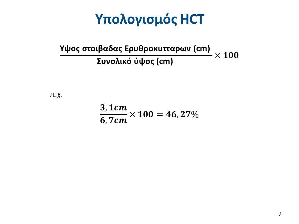 Υπολογισμός HCT 9