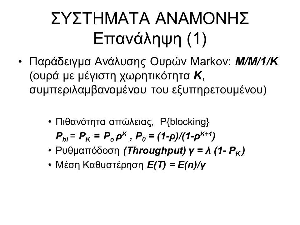 ΣΥΣΤΗΜΑΤΑ ΑΝΑΜΟΝΗΣ Επανάληψη (1) Παράδειγμα Ανάλυσης Ουρών Markov: M/M/1/K (ουρά με μέγιστη χωρητικότητα Κ, συμπεριλαμβανομένου του εξυπηρετουμένου) Πιθανότητα απώλειας, P{blocking} P bl = P Κ = P ο ρ Κ, P 0 = (1-ρ)/(1-ρ Κ+1 ) Ρυθμαπόδοση (Throughput) γ = λ (1- P Κ ) Μέση Καθυστέρηση Ε(Τ) = Ε(n)/γ