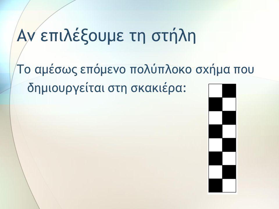 Αν επιλέξουμε τη στήλη Το αμέσως επόμενο πολύπλοκο σχήμα που δημιουργείται στη σκακιέρα: