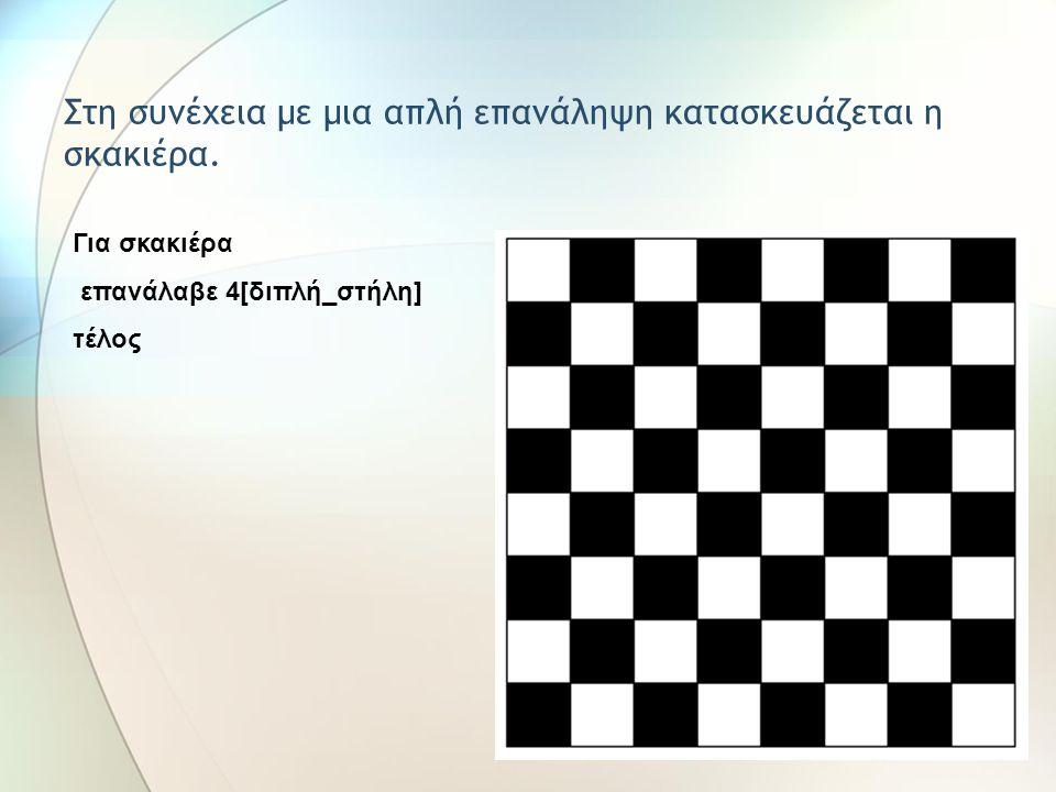 Στη συνέχεια με μια απλή επανάληψη κατασκευάζεται η σκακιέρα.