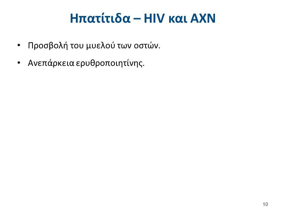 Ηπατίτιδα – HIV και ΑΧΝ Προσβολή του μυελού των οστών. Ανεπάρκεια ερυθροποιητίνης. 10