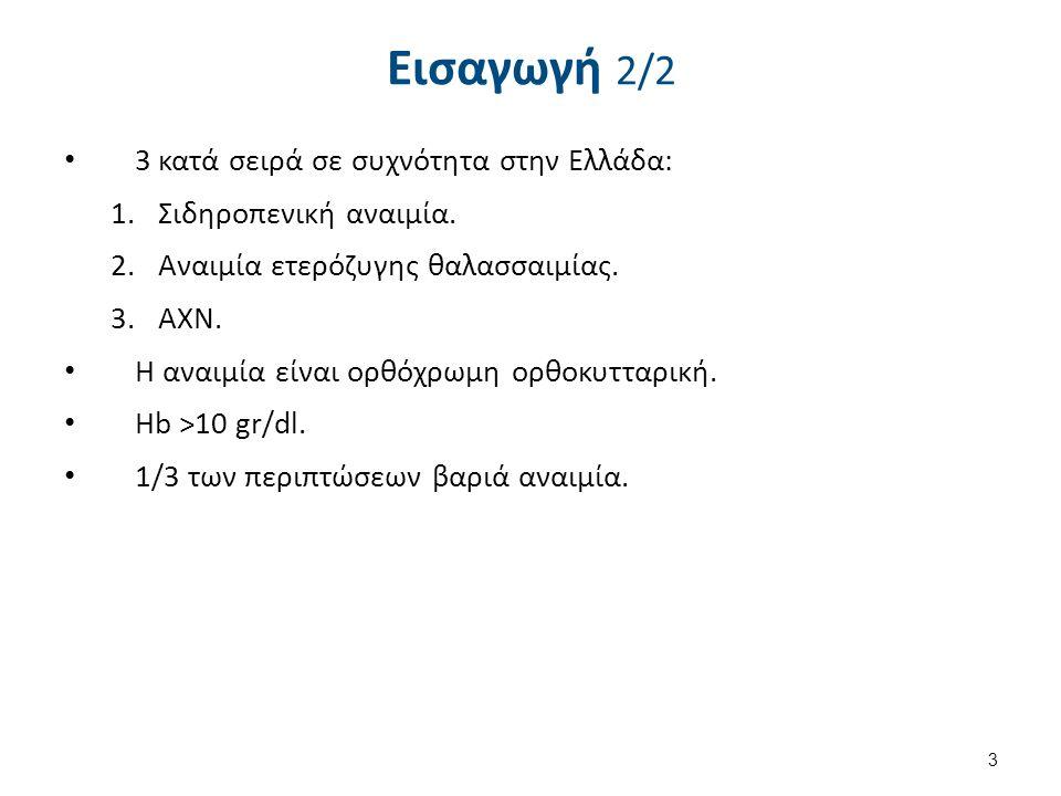 Εισαγωγή 2/2 3 κατά σειρά σε συχνότητα στην Ελλάδα: 1.Σιδηροπενική αναιμία. 2.Αναιμία ετερόζυγης θαλασσαιμίας. 3.ΑΧΝ. Η αναιμία είναι ορθόχρωμη ορθοκυ