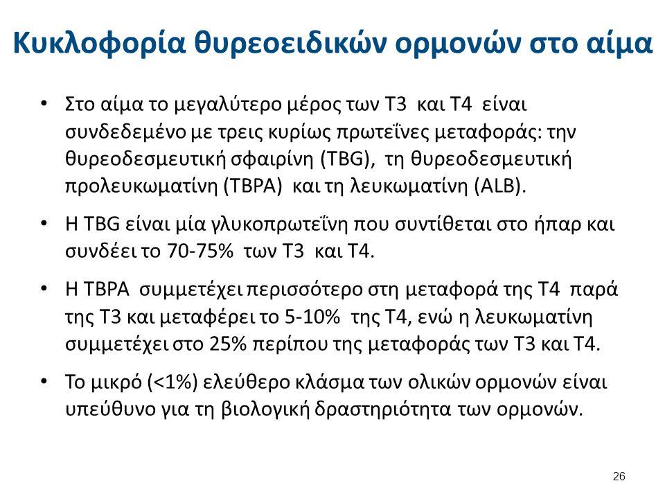 Κυκλοφορία θυρεοειδικών ορμονών στο αίμα Στο αίμα το μεγαλύτερο μέρος των Τ3 και Τ4 είναι συνδεδεμένο με τρεις κυρίως πρωτεΐνες μεταφοράς: την θυρεοδεσμευτική σφαιρίνη (TBG), τη θυρεοδεσμευτική προλευκωματίνη (TBPA) και τη λευκωματίνη (ΑLB).
