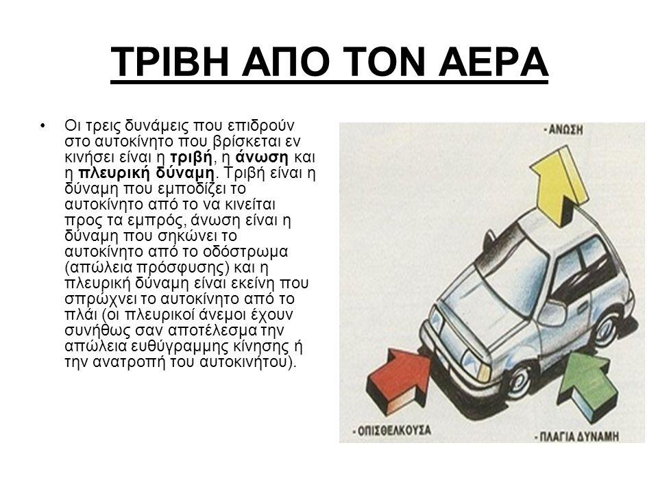 TΡΙΒΗ ΑΠΟ ΤΟΝ ΑΕΡΑ Οι τρεις δυνάμεις που επιδρούν στο αυτοκίνητο που βρίσκεται εν κινήσει είναι η τριβή, η άνωση και η πλευρική δύναμη. Τριβή είναι η
