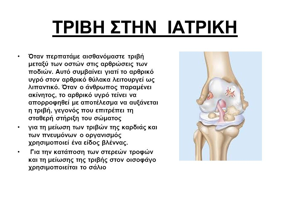 ΤΡΙΒΗ ΣΤΗΝ ΙΑΤΡΙΚΗ Όταν περπατάμε αισθανόμαστε τριβή μεταξύ των οστών στις αρθρώσεις των ποδιών. Αυτό συμβαίνει γιατί το αρθρικό υγρό στον αρθρικό θύλ