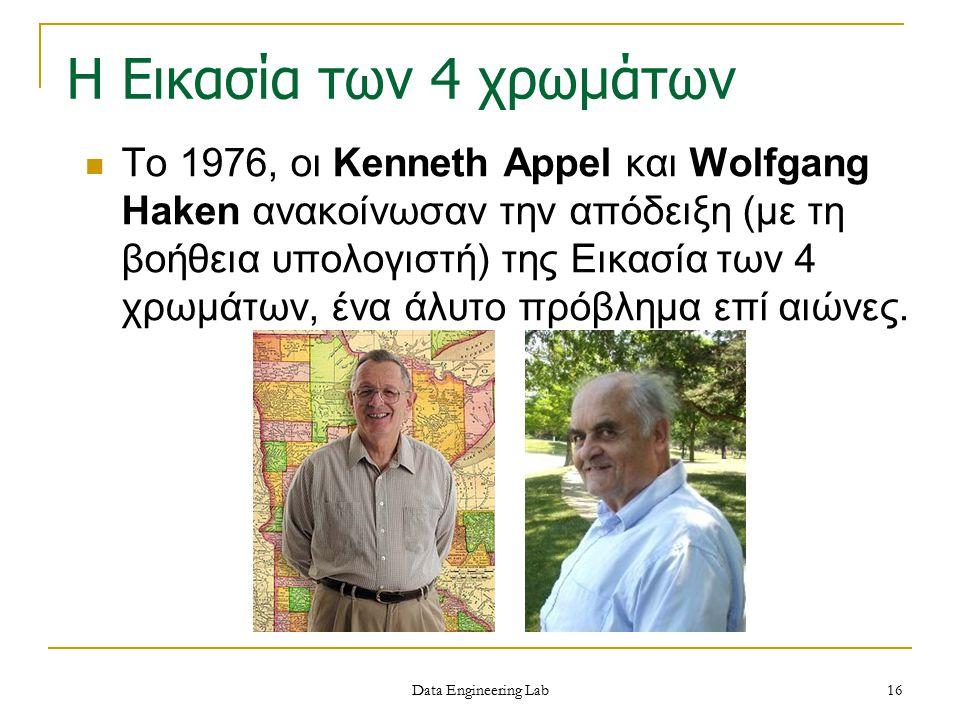 Η Εικασία των 4 χρωμάτων Το 1976, οι Kenneth Appel και Wolfgang Haken ανακοίνωσαν την απόδειξη (με τη βοήθεια υπολογιστή) της Εικασία των 4 χρωμάτων,