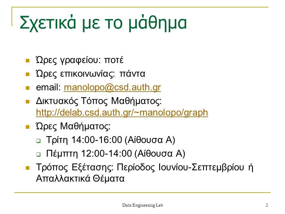 Σχετικά με το μάθημα Ώρες γραφείου: ποτέ Ώρες επικοινωνίας: πάντα email: manolopo@csd.auth.grmanolopo@csd.auth.gr Δικτυακός Τόπος Μαθήματος: http://de