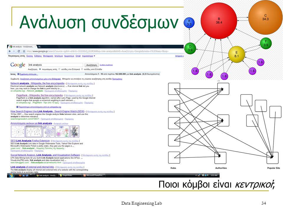 Data Engineering Lab Ανάλυση συνδέσμων Ποιοι κόμβοι είναι κεντρικοί; 34