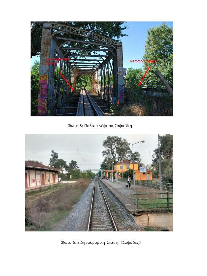 Φωτο 5: Παλαιά γέφυρα Σοφαδίτη Φωτο 6: Σιδηροδρομική Στάση «Σοφάδες» Παλαιά μετρική γραμμή Νέα σιδ.