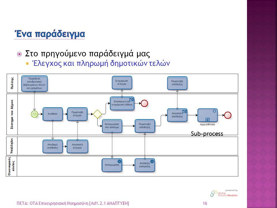  Στο πρηγούμενο παράδειγμά μας  Έλεγχος και πληρωμή δημοτικών τελών 16 ΠΕΤΑ: ΟΤΑ Επιχειρησιακή Νοημοσύνη [Ad1.2.1 ΑΝΑΠΤΥΞΗ] Sub-process