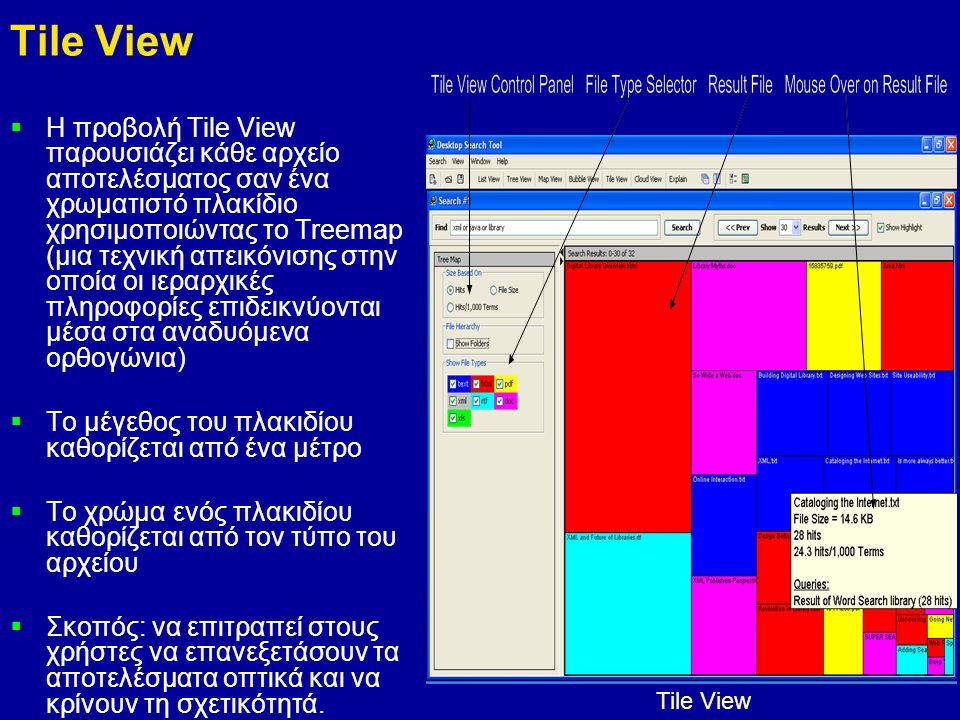 12 Tile View  Η προβολή Tile View παρουσιάζει κάθε αρχείο αποτελέσματος σαν ένα χρωματιστό πλακίδιο χρησιμοποιώντας το Treemap (μια τεχνική απεικόνισης στην οποία οι ιεραρχικές πληροφορίες επιδεικνύονται μέσα στα αναδυόμενα ορθογώνια)  Το μέγεθος του πλακιδίου καθορίζεται από ένα μέτρο  Το χρώμα ενός πλακιδίου καθορίζεται από τον τύπο του αρχείου  Σκοπός: να επιτραπεί στους χρήστες να επανεξετάσουν τα αποτελέσματα οπτικά και να κρίνουν τη σχετικότητά.