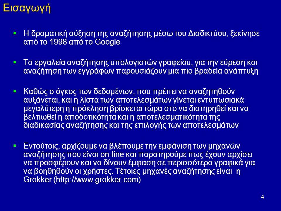 4 Εισαγωγή  Η δραματική αύξηση της αναζήτησης μέσω του Διαδικτύου, ξεκίνησε από το 1998 από το Google  Τα εργαλεία αναζήτησης υπολογιστών γραφείου, για την εύρεση και αναζήτηση των εγγράφων παρουσιάζουν μια πιο βραδεία ανάπτυξη  Καθώς ο όγκος των δεδομένων, που πρέπει να αναζητηθούν αυξάνεται, και η λίστα των αποτελεσμάτων γίνεται εντυπωσιακά μεγαλύτερη η πρόκληση βρίσκεται τώρα στο να διατηρηθεί και να βελτιωθεί η αποδοτικότητα και η αποτελεσματικότητα της διαδικασίας αναζήτησης και της επιλογής των αποτελεσμάτων  Εντούτοις, αρχίζουμε να βλέπουμε την εμφάνιση των μηχανών αναζήτησης που είναι on-line και παρατηρούμε πως έχουν αρχίσει να προσφέρουν και να δίνουν έμφαση σε περισσότερα γραφικά για να βοηθηθούν οι χρήστες.