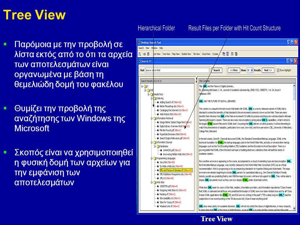 9 Tree View  Παρόμοια με την προβολή σε λίστα εκτός από το ότι τα αρχεία των αποτελεσμάτων είναι οργανωμένα με βάση τη θεμελιώδη δομή του φακέλου  Θυμίζει την προβολή της αναζήτησης των Windows της Microsoft  Σκοπός είναι να χρησιμοποιηθεί η φυσική δομή των αρχείων για την εμφάνιση των αποτελεσμάτων Tree View