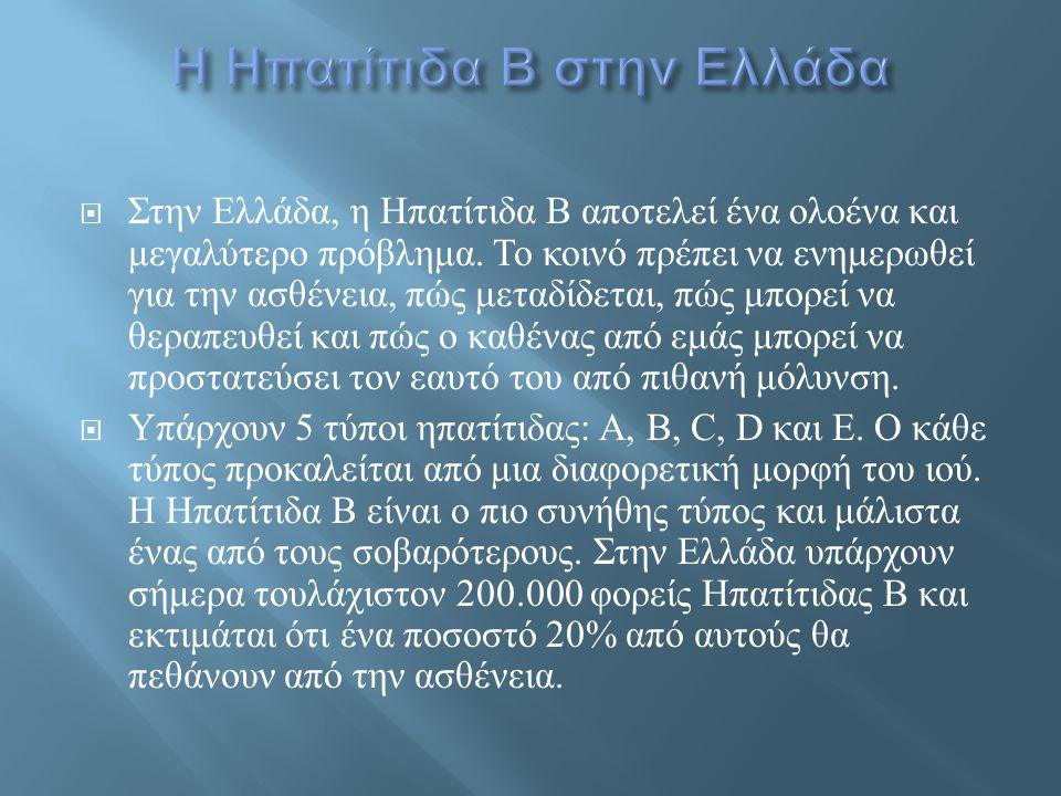  Στην Ελλάδα, η Ηπατίτιδα Β αποτελεί ένα ολοένα και μεγαλύτερο πρόβλημα. Το κοινό πρέπει να ενημερωθεί για την ασθένεια, πώς μεταδίδεται, πώς μπορεί