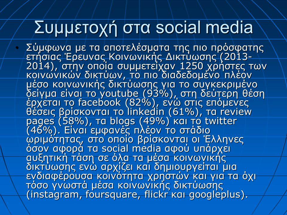 Συμμετοχή στα social media Σύμφωνα με τα αποτελέσματα της πιο πρόσφατης ετήσιας Έρευνας Κοινωνικής Δικτύωσης (2013- 2014), στην οποία συμμετείχαν 1250 χρήστες των κοινωνικών δικτύων, το πιο διαδεδομένο πλέον μέσο κοινωνικής δικτύωσης για το συγκεκριμένο δείγμα είναι το youtube (93%), στη δεύτερη θέση έρχεται το facebook (82%), ενώ στις επόμενες θέσεις βρίσκονται το linkedin (61%), τα review pages (58%), τα blogs (49%) και το twitter (46%).