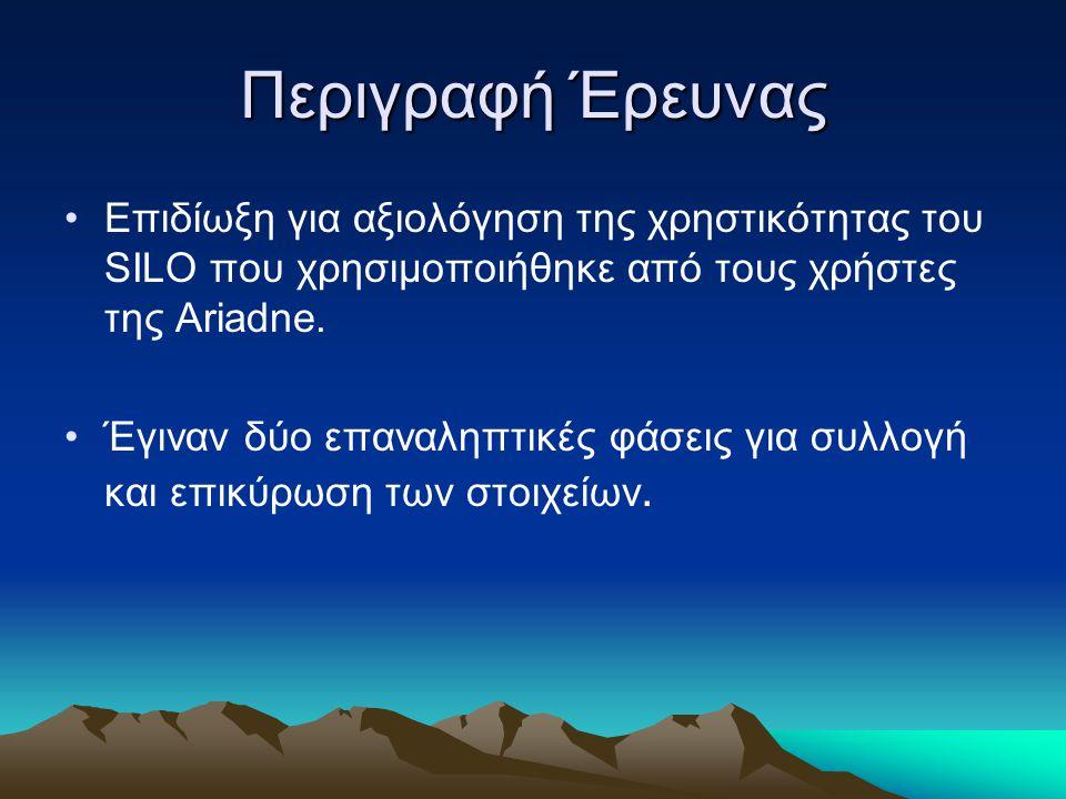 Περιγραφή Έρευνας Επιδίωξη για αξιολόγηση της χρηστικότητας του SILO που χρησιμοποιήθηκε από τους χρήστες της Ariadne.