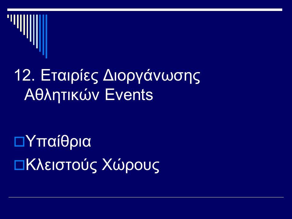 12. Εταιρίες Διοργάνωσης Αθλητικών Events  Υπαίθρια  Κλειστούς Χώρους